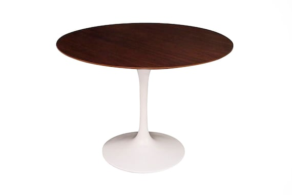 Mid century round dining table with metal base and wood walnut top Sarinnen style