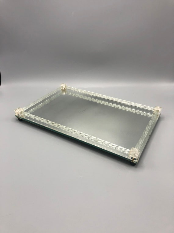 Mid century Hollywood Regency mirror glass tray with glass handles frame