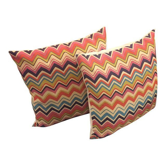Stunning beautiful pair of missoni  style pillows with multi colored zigzag wave