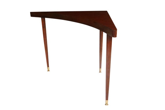 Mid century walnut corner table with three legs
