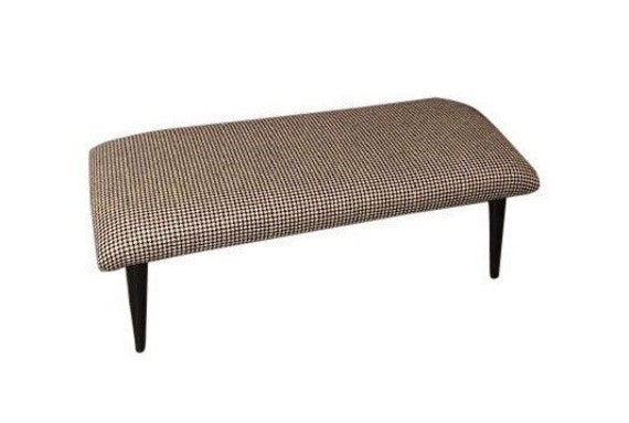 Mid-Century Hounsthoot's Wood Fabric Curated Bench