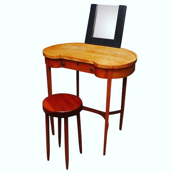 Curated mid century small make up desk or small consul for an entryway teak wood with one drawer and a Miral was added on top dimensions