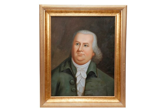 1800's Century oil on canvas painting showing portrait of an older male with wood gold frame in good condition
