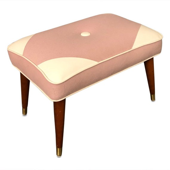 Mid century curated ottoman footstool with new pink wool fabric and white vinyl detail 1960s circa