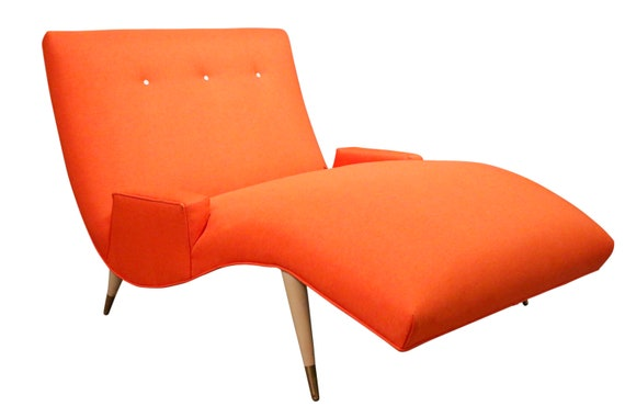 Mid-Century Modern Wave Chaise Lounge by Lawrence Peabody for Selig In orange upholstery 1960's