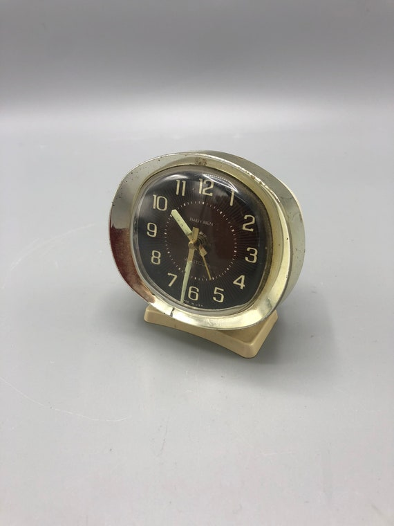 "Mid century small desk clock ""baby Ben"" from west clock 1970's"
