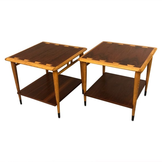 "Mid century pair of ""acclaimed Lane"" end table with a shelf on the bottom"