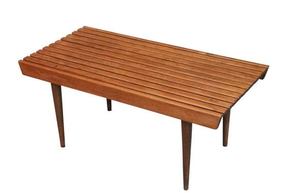 Mid century walnut slate Bench / coffee table made an Yugoslavia