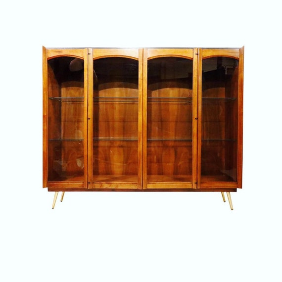 Mid-Century walnut China cabinet buffet with glass doors/glass shelves/electric lights inside. 1960s