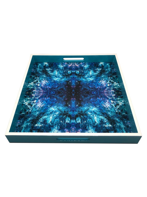 """Handmade contemporary lacquer wood tray titled: """"Blue Ocean"""" designed by """"Magic Hill W16 x D16 x H2"""