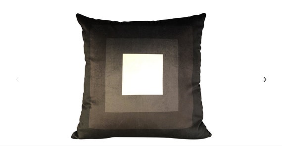 Modern Handmade Black and White Geometric Print Velvet Pillow