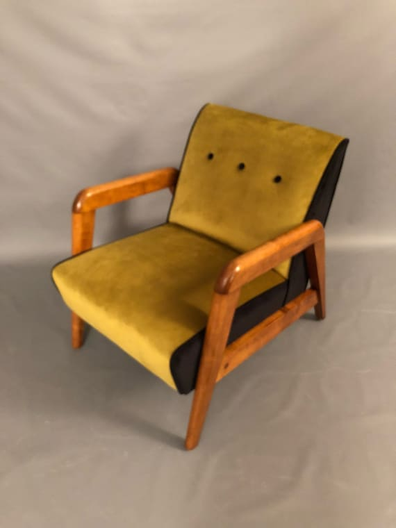 Mid-Century restored lounge arm chair with new green & Black velvet