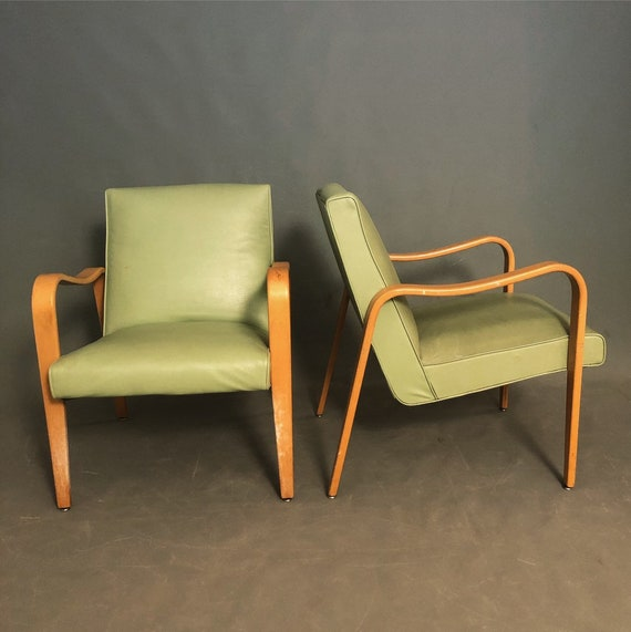 "Mid-Century pair of Lounge chairs with bentwood arms by ""Thonet"""
