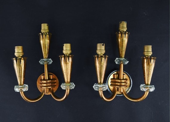 Pair of Copper & Glass 3 light torch wall scones