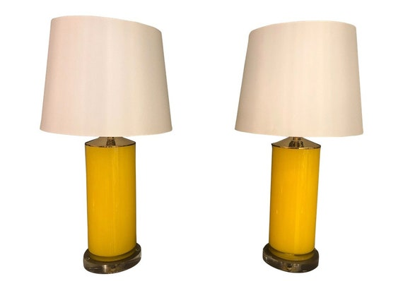 Contemporary Yellow Glass and Lucite Table Lamps - a Pair
