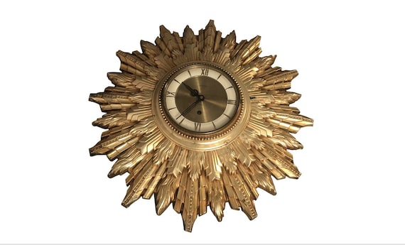 Mid Century 1960s Gold Wall Clock by Welby