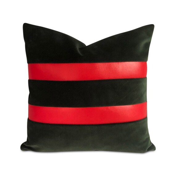 """Contemporary handmade green emerald  velvet with two red vinyl stripes on one side. 16"""" x 16"""" inches"""