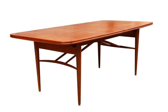Mid century danish teak dining table with one leaf