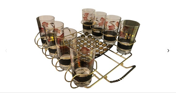 Mid Century Set of Drinking Glass Tray and Caddy Holder