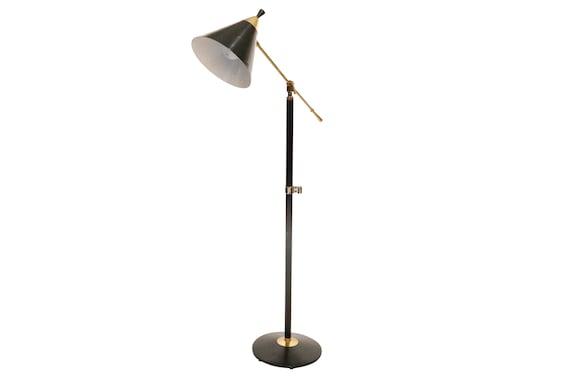 Mid-century Italian black and gold adjustable floor lamp 1970's