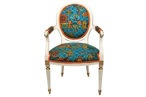 Curated antique queen Ann armchair with new upholstery