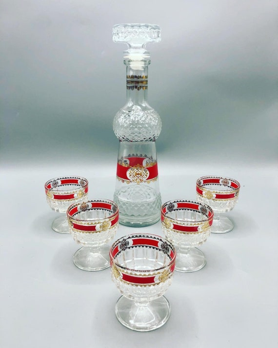Mid-Century decanter set with 5 wine glasses 1970's Circa