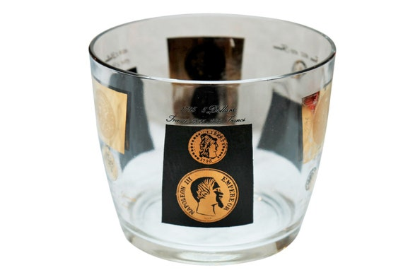 Mid century glass ice bucket with black & Gold couns