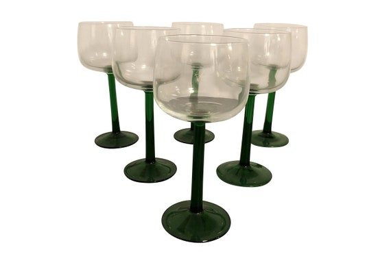 Mid 20th Century Italian Handblown Green Stem Wine Glasses - Set of 6