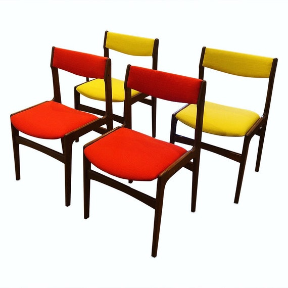 Mid-Century curated set of 4 teak dining chairs with new maharam orange & yellow fabric. 1960's Danish.