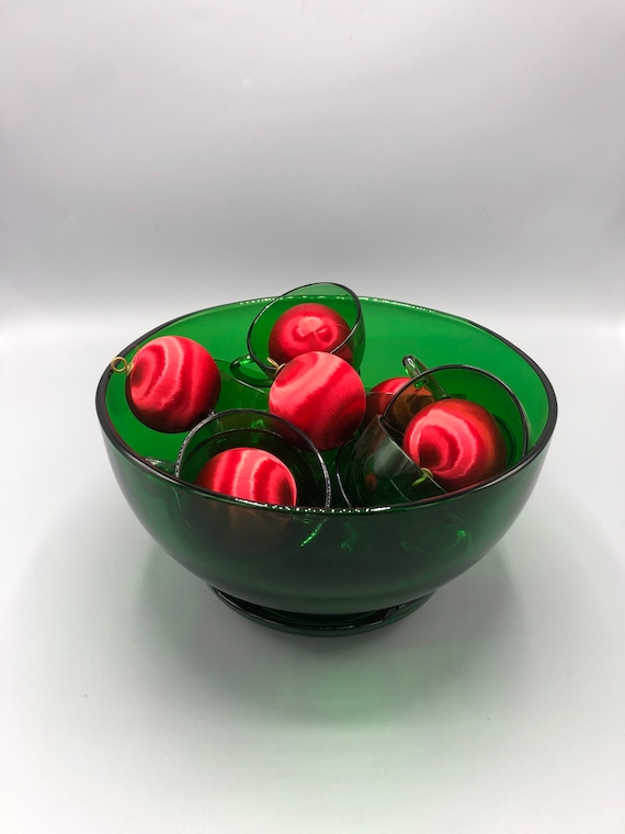 Mid century green punch bowl set with nine glasses and glass base