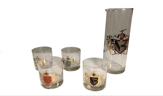 Hollywood Regency Style Barware Glasses & Pitcher