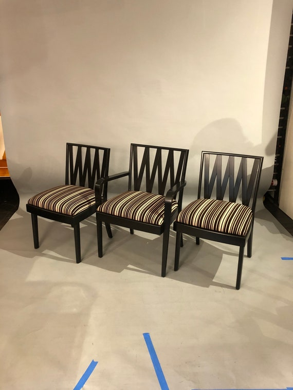 Set of Three Mahogany black framed dining chairs with new black white stripes upholstered