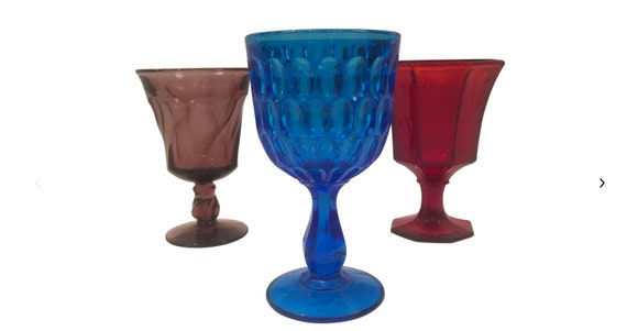Art Glass Wine Goblets - Set of 3