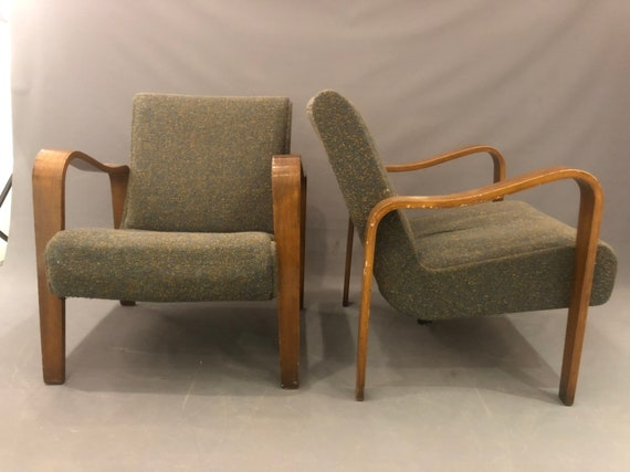 mid century pair lounge chairs in original condition  bentwood arms very sturdy and heavy