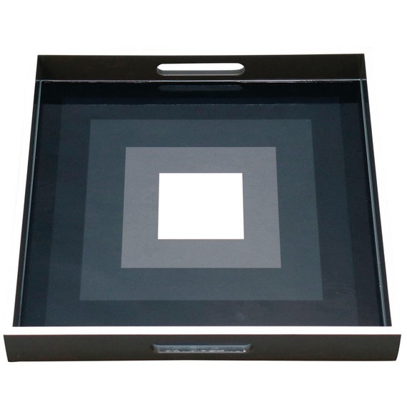 Contemporary lacquered wood tray with geometric black/gray & white square design