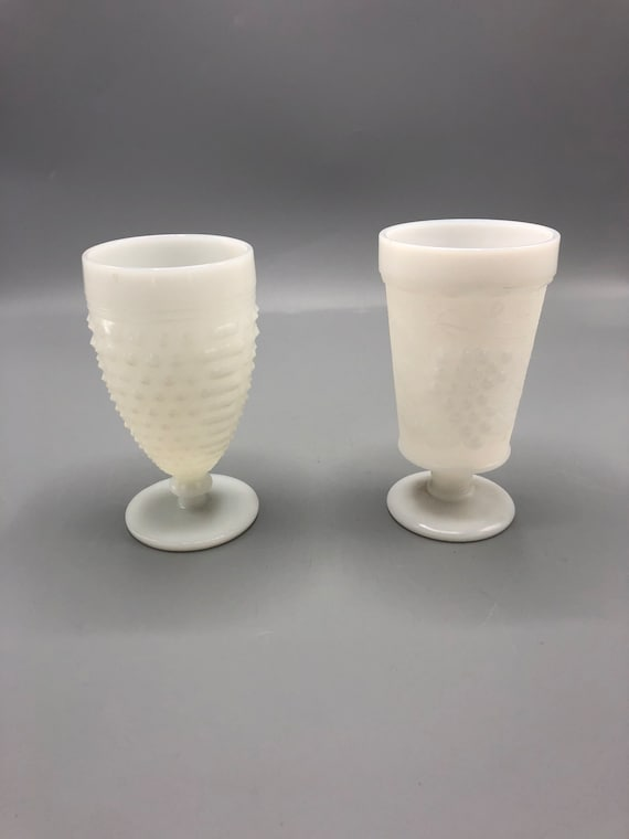Mid century milk glass set two different glasses