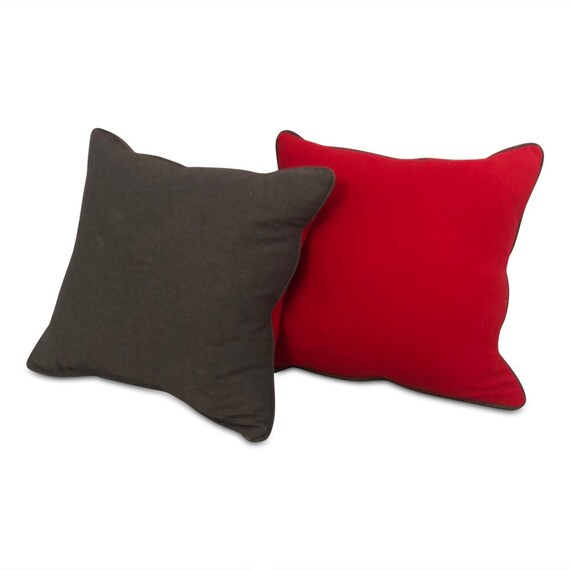 "Contemporary handmade real wool pillow in red & gray 24"" x 24"" inches"