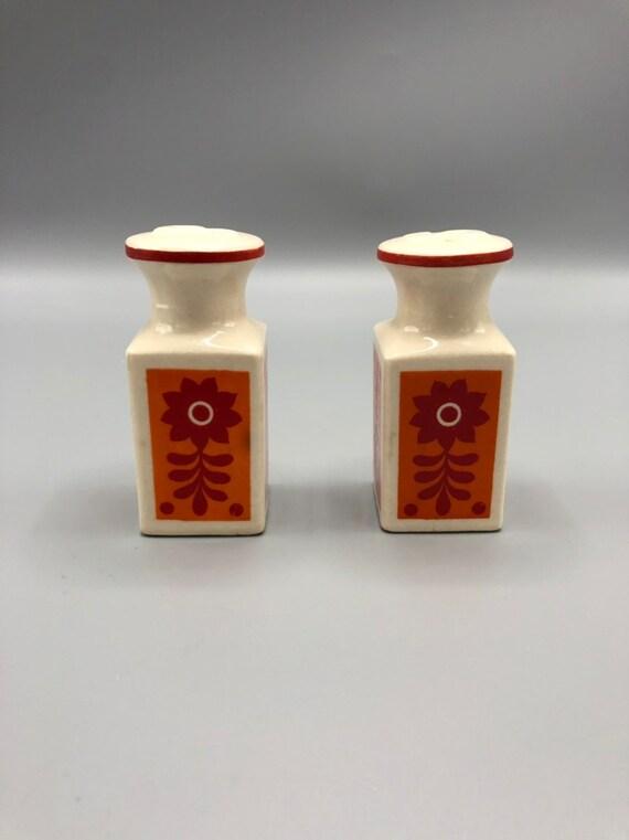 Mid century ceramic handmade salt and pepper shaker