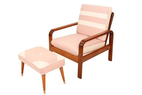 Mid century Danish curated teak arm lounge chair with new pink wool cushions   And ottoman. 1970's Circa.
