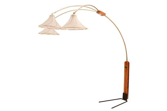 Mid-Century teak & brass floor lamp with 3 arms  1970's Circa