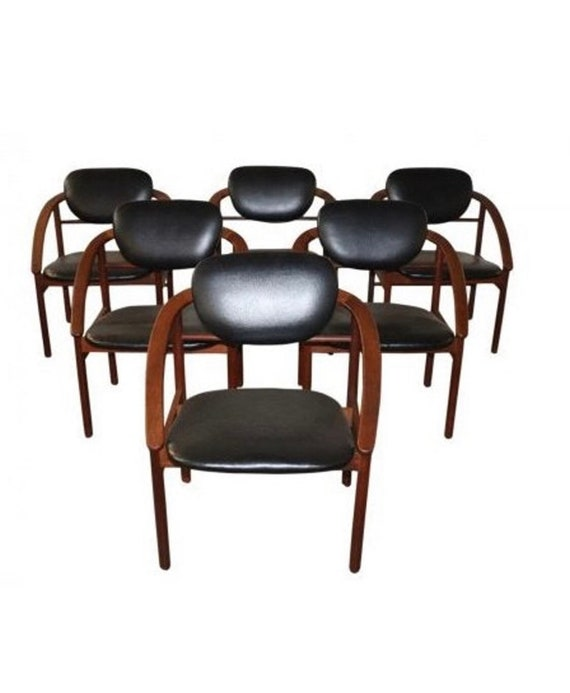 Set of 6 MCM Style Upholstered Hans Wegner Arm Chairs.1960's Circa