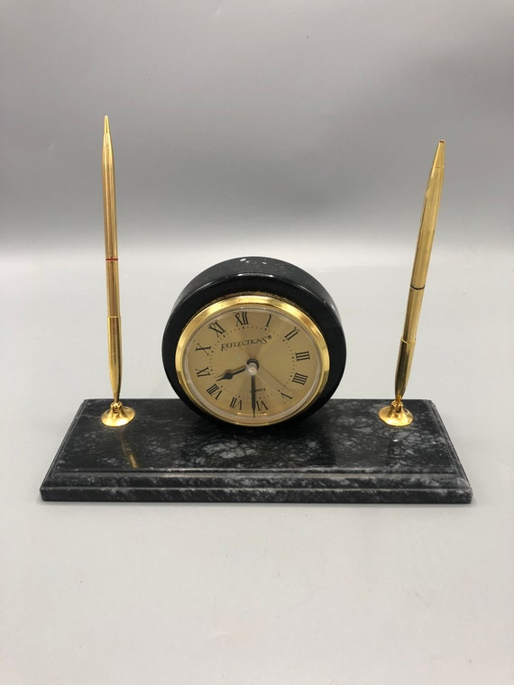 Mid-Century marble desk clock stationary with two pen holders. 1960's. Circa