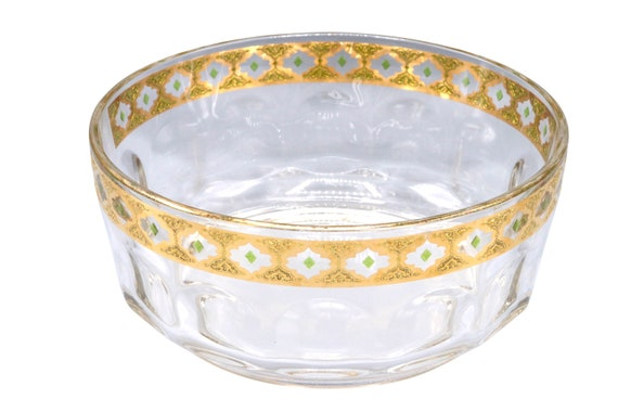 Mid-Century heavy crystal glass bowl with gold trim on top. Made in France 1970's Circa