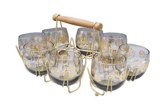 Stunning rare Mid-Century set of 8 lowball  glasses with gold detail and brass caddy holder. 1960's Circa
