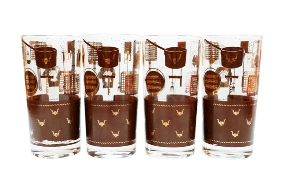 Mid century highball gold & brown glass set of 4.