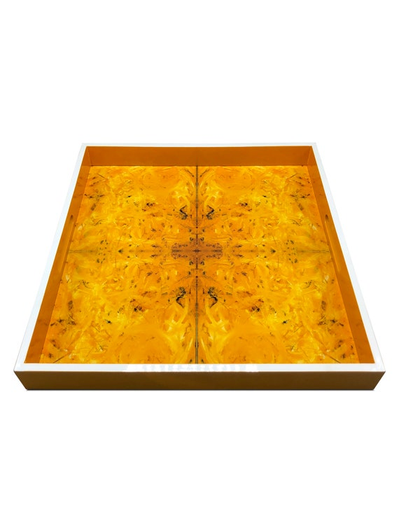 """Handmade contemporary lacquer wood tray titled: """"Sunshine Karma"""" designed by """"Magic Hill"""