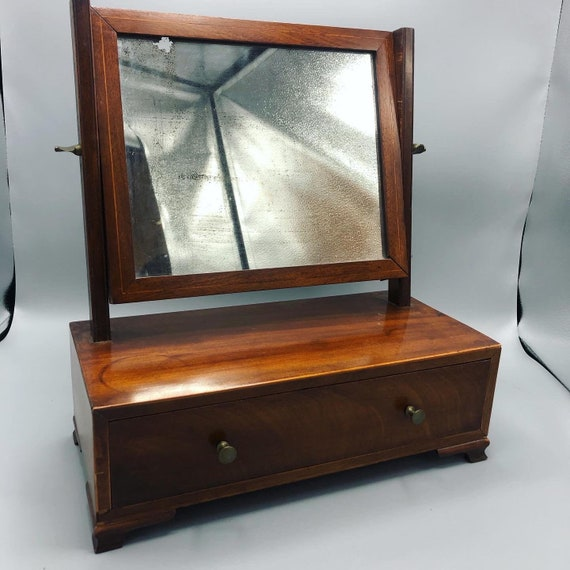 Victorian wood Jewelry vanity box with adjustable mirror. 1930's Circa