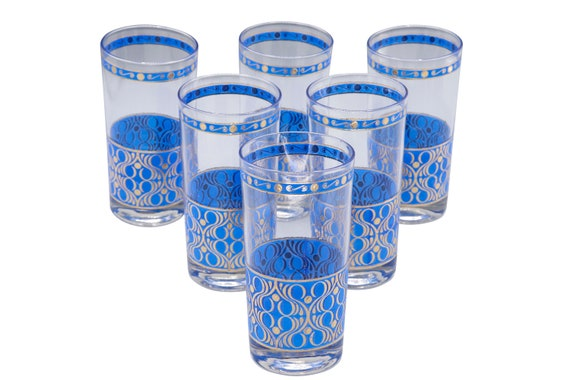Mid century set of 6 Tumbler glasses painted in gold and blue  1960's Circa