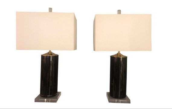 Contemporary Black Glass and Lucite Table Lamps - a Pair