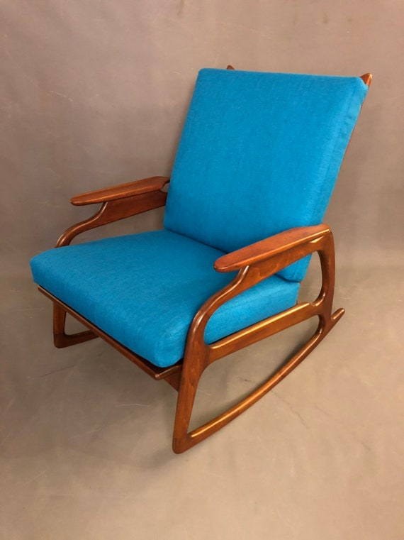 Mid Century Adrian Personal Style Sculptured Arms Rocker Chair